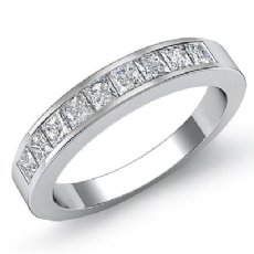 Half Wedding Womens Band Princess Channel Set Diamond Ring 14k White Gold 0.9Ct