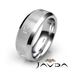 Princess Diamond Men's Wedding Band 7.5mm Eternity Ring 14k White Gold 0.50Ct