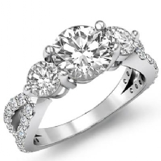 Three Stone Split Shank Round diamond engagement Ring in 14k Gold White