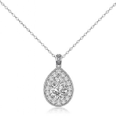 Circa Halo Filigree Bale Pear diamond  Pendant in 14k Gold White