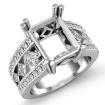 1.25Ct Princess Round Diamond Engagement Ring Emerald Semi Mount 14k White Gold - javda.com