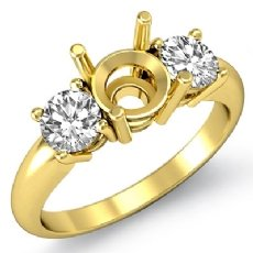 Round Diamond Three 3 Stone Semi Mount Engagement Ring 18k Gold Yellow Setting  (0.5Ct. tw.)