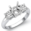 Round Diamond Three 3 Stone Semi Mount Engagement Ring 14k White Gold Setting 0.5Ct - javda.com