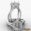 Halo Split Shank Cushion Semi Mount Diamond Engagement Ring 14k White Gold 0.4Ct - javda.com