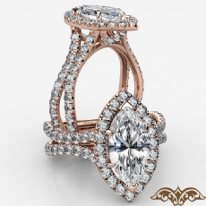 Cathedral Halo French Pave Marquise diamond  Ring in 18k Rose Gold