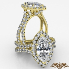 Cathedral Halo French Pave Marquise diamond  Ring in 14k Gold Yellow