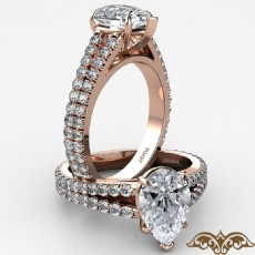 French U Cut Pave Split Shank Pear diamond  Ring in 18k Rose Gold