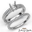 Diamond Engagement Ring Princess Semi Mount U Cut Bridal Set 14k White Gold 0.8Ct - javda.com
