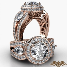 Three Stone Vintage Circa Halo Round diamond  Ring in 18k Rose Gold