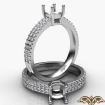 U Cut Prong Setting Diamond Engagement Cushion Semi Mount Ring 14k White Gold 0.5Ct - javda.com