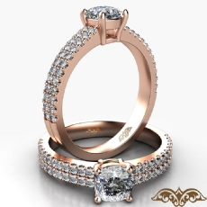 French U Pave 2 Row Shank Cushion diamond  Ring in 18k Rose Gold