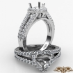 Gorgeous Halo Prong Diamond Engagement Heart Semi Mount Ring 14k White Gold 0.75Ct - javda.com