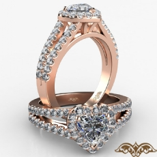 Halo Split Shank French U Pave Heart diamond  Ring in 18k Rose Gold