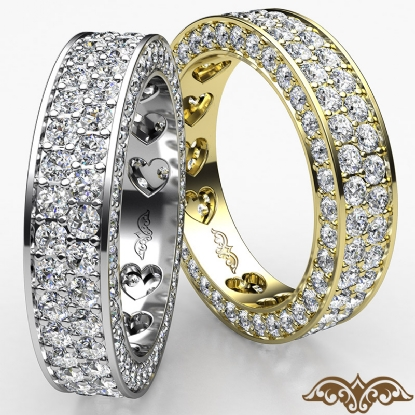 2 Row Women S Wedding Band Pave Diamond Heart Eternity 14k White Gold Ring 2ct