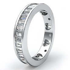 Baguette Diamond Women's Wedding Ring Heart Eternity Band Platinum 950  (2.1Ct. tw.)