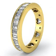 Baguette Diamond Women's Wedding Ring Heart Eternity Band 18k Gold Yellow  (2.1Ct. tw.)