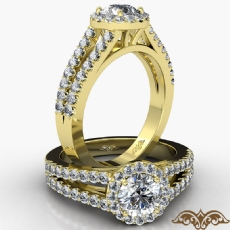 Split Shank Halo French Pave diamond Ring 14k Gold Yellow