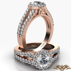 Split Shank Halo French Pave Round diamond  Ring in 18k Rose Gold