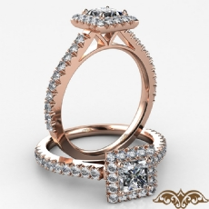 Halo Basket Set French V Pave Princess diamond  Ring in 18k Rose Gold