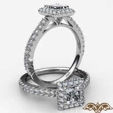 Halo Basket Set French V Pave Princess diamond  Ring in 18k Gold White