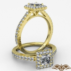 Halo Basket Set French V Pave diamond Ring 14k Gold Yellow