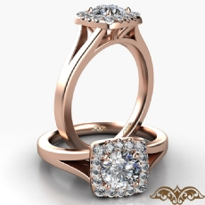Halo Cathedral Split Shank Round diamond  Ring in 18k Rose Gold