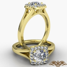 Halo Cathedral Split Shank diamond Ring 14k Gold Yellow