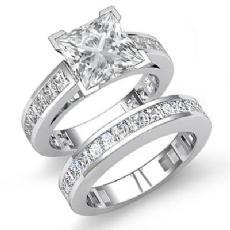 Channel Shank Bridal Set diamond Ring 14k Gold White