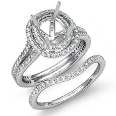 2Ct Matching Diamond Engagement Wedding Ring Cushion Bridal Set 14K White Gold