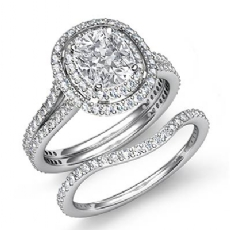 Split Shank Halo Bridal Cushion diamond engagement Ring in 14k Gold White