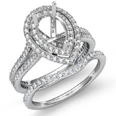 2.2Ct Diamond Engagement Ring Semi Mount Bridal Set 14K White Gold Wedding Band