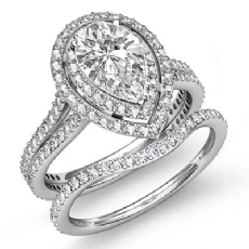 Gala Halo Pave Bridal Set Pear diamond engagement Ring in 14k Gold White