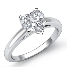 Classic Solitaire Prong Set Heart diamond engagement Ring in 14k Gold White