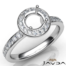 Diamond Engagement Halo Pave Setting Round Semi Mount Ring 14K White Gold 0.45Ct