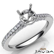 Diamond Engagement Pave Setting 14K White Gold Round Cut Semi Mount Ring 0.65Ct