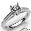 Channel Setting Diamond Engagement Round Semi Mount Ring 14k White Gold 0.3Ct - javda.com
