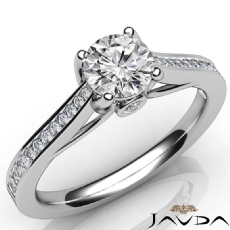 Channel Prong Set Sidestone Round diamond engagement Ring in 14k Gold White