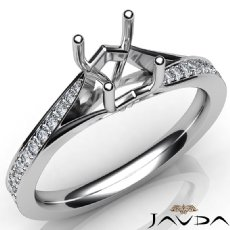 Pave Setting Diamond Engagement Round Cut Semi Mount Ring 14K White Gold 0.35Ct