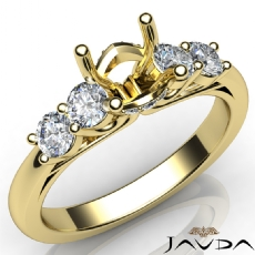 5 Stone Prong Setting Diamond Engagement Round Semi Mount Ring 18k Gold Yellow  (0.5Ct. tw.)