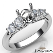 5 Stone Prong Setting Diamond Engagement Round Semi Mount Ring 14k White Gold 0.5Ct - javda.com