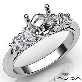 5 Stone Prong Setting Diamond Engagement Round Semi Mount Ring 14K W Gold 0.50Ct