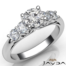 Classic 5 Stone Prong Set Round diamond engagement Ring in 14k Gold White