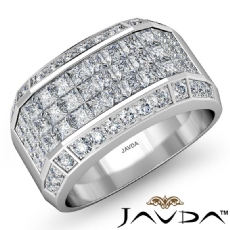 3.5CT Princess Round Diamond Fashion Men Diamond Ring W Gold