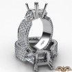 3Stone Diamond Engagement Ring Setting 14k White Gold Princess Semi Mount 2.4Ct - javda.com