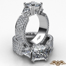 Trillion 3 Stone Micropave Set Princess diamond  Ring in 14k Gold White