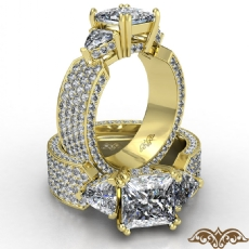 Trillion 3 Stone Micropave Set diamond Ring 14k Gold Yellow