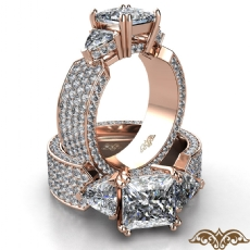 Trillion 3 Stone Micropave Set Princess diamond  Ring in 18k Rose Gold