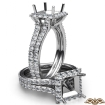 1.38Ct Halo Setting Diamond Engagement Princess Semi Mount Ring 14k White Gold - javda.com