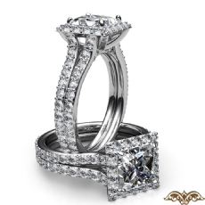 Split Shank Halo Micropave Set Princess diamond  Ring in 18k Gold White