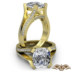 Split Shank Bridge Accent Cushion diamond  Ring in 18k Gold Yellow